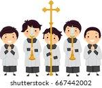 illustration of stickman kids... | Shutterstock .eps vector #667442002