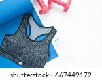 flat lay of sport bra and sport ... | Shutterstock . vector #667449172