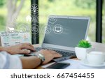 business startup concept. young ... | Shutterstock . vector #667454455