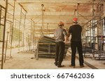 construction manager and male... | Shutterstock . vector #667462036