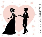 bride and groom silhouette... | Shutterstock .eps vector #667462912