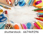 school and office supplies and... | Shutterstock . vector #667469296