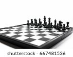 chessboard and chess character... | Shutterstock . vector #667481536