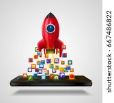 mobile icons app rocket on the... | Shutterstock .eps vector #667486822