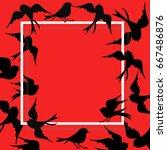 frame of black bird fly around... | Shutterstock .eps vector #667486876