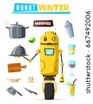 funny robot waiter  cute... | Shutterstock .eps vector #667492006