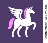 winged unicorn logo vector... | Shutterstock .eps vector #667493506