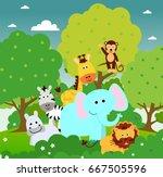 cute safari animals | Shutterstock .eps vector #667505596