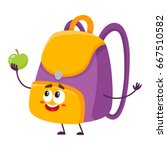 cute and funny school bag ... | Shutterstock .eps vector #667510582
