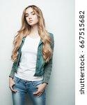 fashion model posing in studio  ... | Shutterstock . vector #667515682