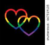 overlapping rainbow hearts on...   Shutterstock .eps vector #667519135