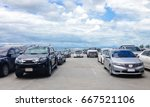 car parked in parking lot and... | Shutterstock . vector #667521106