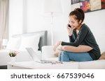 beautiful young asia woman... | Shutterstock . vector #667539046