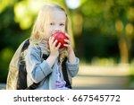 adorable little schoolgirl... | Shutterstock . vector #667545772