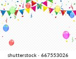 colorful party flags with...   Shutterstock .eps vector #667553026
