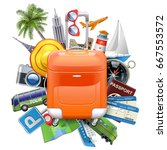 vector travel concept with... | Shutterstock .eps vector #667553572