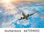 passenger airplane in the... | Shutterstock . vector #667554052