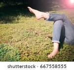 relaxing in a meadow in the... | Shutterstock . vector #667558555