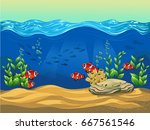 clown fish. vector illustration ... | Shutterstock .eps vector #667561546