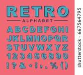 retro styled alphabet  numbers... | Shutterstock .eps vector #667564795