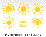 set of sun icons. hand drawn... | Shutterstock .eps vector #667566748