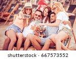 summer holidays vacation and... | Shutterstock . vector #667573552