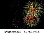 majestic fireworks in evening...   Shutterstock . vector #667584916