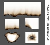 set of scorched piece of paper... | Shutterstock .eps vector #667584982