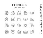 set line icons of fitness and... | Shutterstock .eps vector #667589122