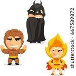kids in superheroes in... | Shutterstock .eps vector #667589872