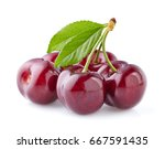cherries with leaves | Shutterstock . vector #667591435