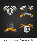 Car Tire Icons Set In Dark Gre...