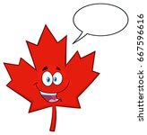 happy canadian red maple leaf... | Shutterstock .eps vector #667596616