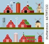 Set Of Farm Buildings. Vector...