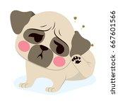 sweet puppy dog french bulldog... | Shutterstock .eps vector #667601566