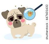 dog having parasite infection... | Shutterstock .eps vector #667601632