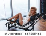 sensual blonde woman in sexy... | Shutterstock . vector #667605466