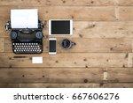 top view retro corporate web... | Shutterstock . vector #667606276