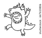 cartoon mad dragon. vector... | Shutterstock .eps vector #667610806