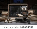 robot reading a book in the... | Shutterstock . vector #667613032