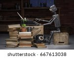 robot reading a book in the... | Shutterstock . vector #667613038