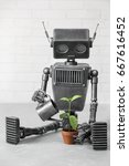 portrait of the robot which is... | Shutterstock . vector #667616452