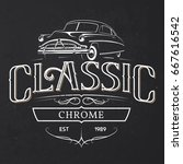 old classic car typography... | Shutterstock .eps vector #667616542
