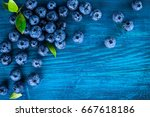 fresh blueberry with drops of... | Shutterstock . vector #667618186