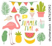 set of cute summer elements.... | Shutterstock .eps vector #667619392