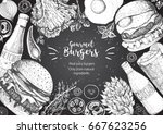 burgers and ingredients for... | Shutterstock .eps vector #667623256