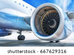 jet engine against a sky | Shutterstock . vector #667629316