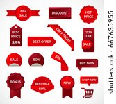 vector stickers  price tag ... | Shutterstock .eps vector #667635955
