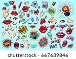 collection set of fashion patch ... | Shutterstock .eps vector #667639846