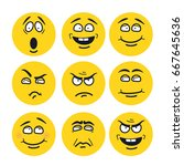 vector cartoon faces with... | Shutterstock .eps vector #667645636
